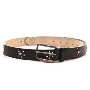 NINE WEST Embellished Cut Out Leather Belt Size XL